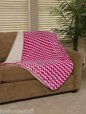 "Pink Chevron Zig Zag Sherpa Luxury Throw Light Weight Soft Blanket 50""x70"""