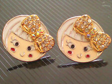 Roudn Shape girly Colourful Gold Fashion Stud Earrings Cute Girl FE17
