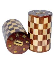 Indian Handicraft Wooden Hand Made Money bank Round Chess Home Decor Gift Item