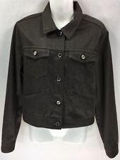 Ralph Lauren Polo Sport RL Womens Brown Denim Jean Jacket Steel Button Sz Med