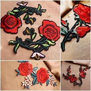 Floral rose Iron Sew On Embroidered Patch Applique Embroidery Motif transfer