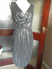 Monsoon Roxanne Charcoal/silver sequin drape dress 16 EU44  BNWT RRP £110