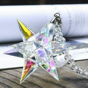 Crystal Ornament Morning Star Shaped Ornament Christmas Snowflake Hanging color~