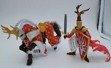 Papo red Knight Deer Figure with Shield and REd Horse of Knight Deer NEW 02