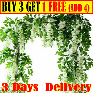 2X 7FT Artificial Wisteria Vine Garland Plant Foliage Trailing Flower Home Decor