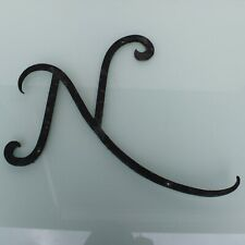 Antique industrial curly wrought iron letter N 19th Century.