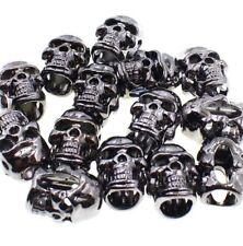 Lot 50 S Gun metal Skull Bead Paracord Jewelry Leather Crafts DIY Handmade