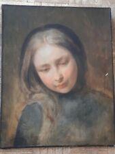 Belle peinture XIX portrait jeune fille painting tableau non signée