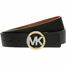 Michael Kors Reversible Black/Tan Two Tone MK Circle Logo Buckle Belt