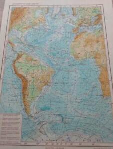 "Russian Topographic Map Atlantic Ocean 7.3x10.2"" Cold War Soviet Vintage 1958"