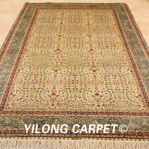 Yilong 5'x8' Classic Silk Rug Hand Knotted Gold Carpet Living Room Handmade 1028