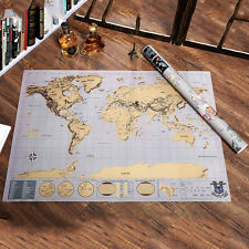 Deluxe Large Travel Scratch Off World Map Poster Personalized Journal Map AU