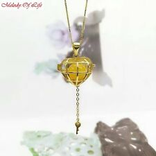 Sterling SILVER Gold Color Pearl Cage Pendant - Heart Key Fun Gift Akoya Oyster