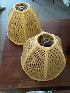 Vintage Bohemian Mid Century Modern Rattan Lamp Shade Set Of 2