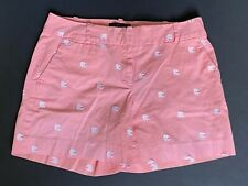 Talbots Coral Cotton Shorts with Nautical White Fish Overall Print Size 4
