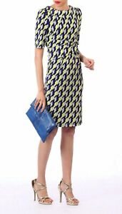 Jolie Moi Geometric Print Pencil Dress Yellow Multi Size UK 18 BNWT NEW