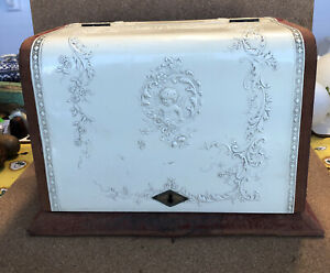 Vintage Antique Celluloid & Velvet ladies dresser sewing box W/  accessories