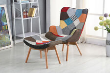 New Kinds Patchwork Fabric Armchair Chair Lounge Chair With Matching Foot Stool