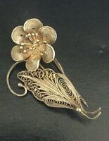 Antique Vintage Solid Sterling Silver  Filigree Flower Brooch