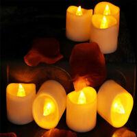 12/24PCS Flameless LED Candles Tea Light Votive Wax Battery Powered Pillar Light