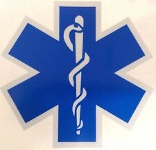 Blue Reflective Vinyl Star Of Life Car or Fire Helmet Decal EMS EMT 4 inch