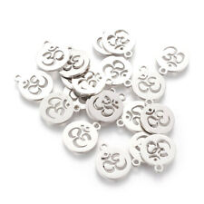 20pcs 304 Stainless Steel Coin Charms Hollow Ohm Dangle Pendant Findings 14x12mm