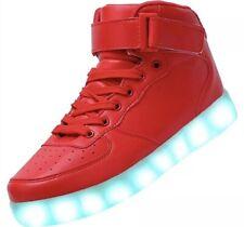 Flash Kicks Unisex Light Up Sneakers Shoes Red High Top Womens Sz 7 Mens 8 Eu 37