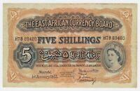 British East Africa Banknote 5 Shillings 1955 P33 VF Queen Elizabeth Lion TDLR