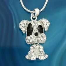 """Dog Necklace Made With Swarovski Crystal Pet Movable Pendant Jewelry 18"""" Chain"""