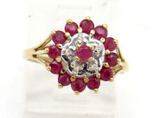 Diamond Right Hand Cluster Ring.73ct 14k Yellow Gold Round Ruby and