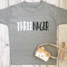 Threenager T-Shirt Top 3rd Birthday T-Shirt  Third Birthday outfit Girls Boys