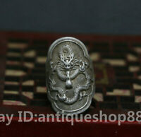 36MM Old China Ancient Miao Silver Zodiac Year Dragon Beast Fashion Wedding Ring