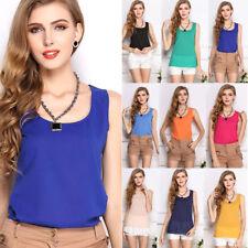 Fashion Women Girl Casual Loose Sleeveless Chiffon Vest Tank T Shirt Blouse Tops