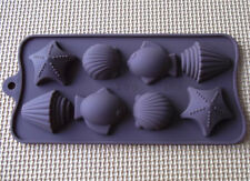 8-Sea Shell Fish Star Cake Mold Cookie Mould Flexible Silicone Soap Mold