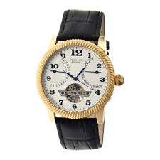 Heritor Automatic Piccard Men's Semi-Skeleton Black Leather Gold Watch HR2003