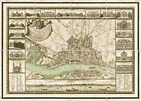 MAP ANTIQUE 1772 ZANNONI WARSAW PICTORIAL OLD LARGE REPLICA POSTER PRINT PAM0223