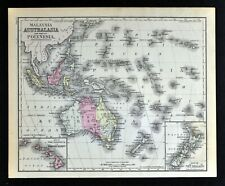 1882 Cowperthwait Map Australia Malaysia Polynesia Oceania New Zealand Hawaii