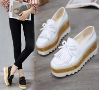 Womens Square Toe High Wedge Heel Casual Shoes Platform Slip On Loafers Tassels