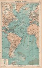 1931 MAPPA ~ Oceano Atlantico con i percorsi STEAMER Europa nord America West Indies