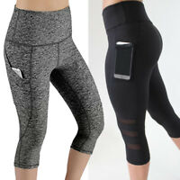 Lady's High Waist Capri Cropped Leggings Yoga Pants Fitness Workout Wear for Gym