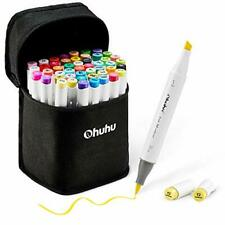 48-Color Art Markers Set, Ohuhu Dual Tip, Brush & Chisel Sketch Marker for Kids