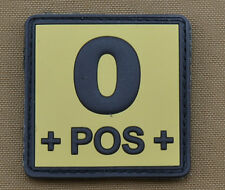 "PVC / Rubber Patch ""Blood type 0 POS + Tan"" with VELCRO® brand hook"