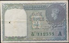 India 1 Rupee (1940) P-25d Green Serial # King George Vi Vf