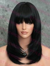 Jet Black Medium Shoulder Layered Straight Heat OK Synthetic Hair Wig SALP 1