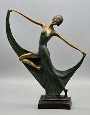 "Art Deco Bronze Female Dancer 1920's 13.75"" Tall with green dress"