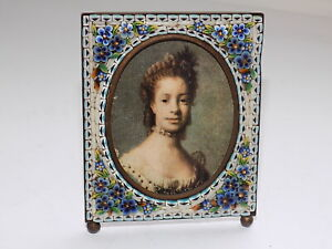 ANTIQUE ITALIAN GLASS MICRO MOSAIC PORTRAIT MINIATURE EASEL PHOTO FRAME