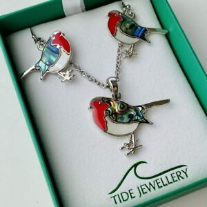 Robin Mother of Pearl & Paua Shell Necklace Pendant Earrings Gift Set