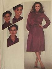 VTG 80 SIMPLICITY 9623 Pullover Dress w 3n1 Convertible Collar PATTERN 12/34B