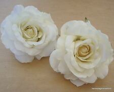 """Two Piece Lot Large 4 1/2"""" Cream White Rose Silk Flower Hair Clips,Bridal,Prom"""