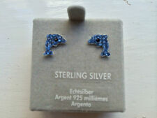 Childrens Girls Sterling Silver Aqua Crystal Dolphin Stud Earrings